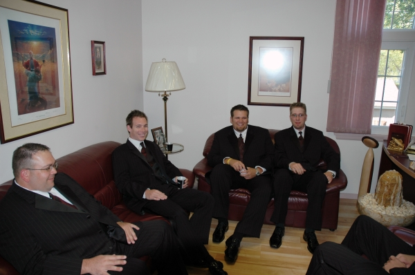 The Big Day has arrived. The Groom and the groomsmen gather for a moment of calm before the service.